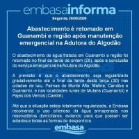 Abastecimento é retomado em Guanambi e região após manutenção emergencial na Adutora do Algodão. - Foto 1
