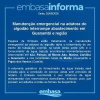 Manutenção emergencial na adutora do algodão interrompe abastecimento em Guanambi e cidades da região. - Foto 1