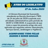 Câmara de Guanambi suspende atividades administrativas. - Foto 1