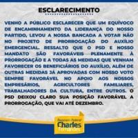Charles Fernandes diz que cometeu equívoco ao votar contra prorrogação do Auxílio Emergencial até dezembro. - Foto 1