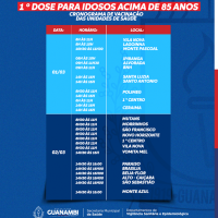 Prefeitura de Guanambi divulga cronograma da 1ª dose de vacina contra a Covid-19 nos idosos acima de 85 anos. - Foto 1