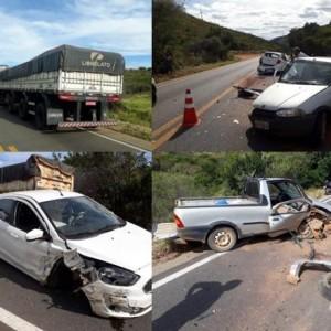Acidente envolvendo três veículos na Serra dos Brindes em Guanambi.