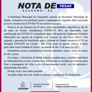 Homem de 65 anos foi a 72ª vítima da Covid-19 em Guanambi.