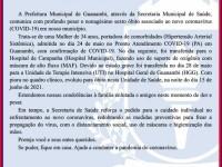 Mulher 34 anos é a nonagésima sexta vítima da Covid-19 em Guanambi.