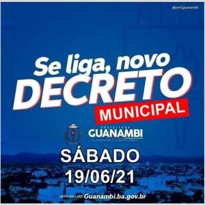 Prefeitura de Guanambi edita novo decreto para se adequar às medidas do Governo do Estado contra a Covid-19.