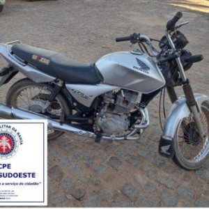 Cipe Sudoeste apreende motocicleta em Guanambi.