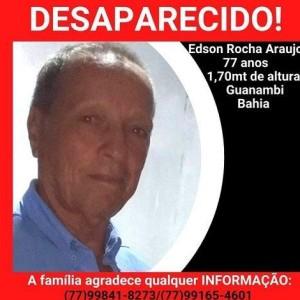 Família procura por Galego que mora na Serra de Mutans, na zona rural de Guanambi.