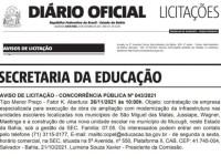 Publicado aviso de licitação para reforma de escola em Jussiape.