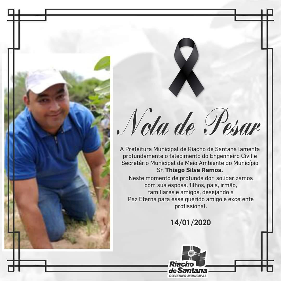 Falece, vítima de câncer, Secretário de Agricultura e Meio Ambiente de Riacho de Santana.