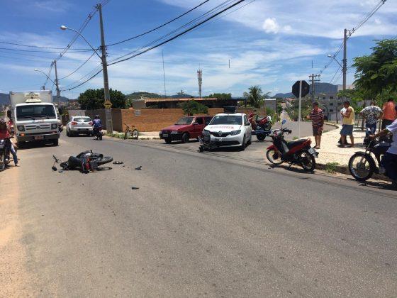 Motociclista fica ferido em acidente no bairro Ipanema em Guanambi.