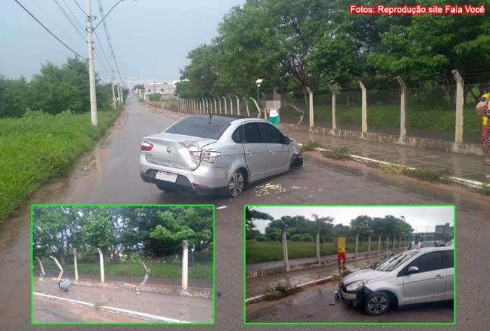 Guanambi: homem perde controle da direção e carro colidi contra grades de proteção do Parque da Cidade.