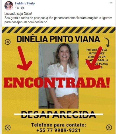 Família localiza mulher desaparecida há 2 dias em Carinhanha.