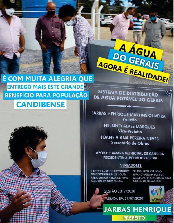 Prefeito Jarbas Henrique realiza sonho de dezenas de famílias e entrega a água do Gerais.