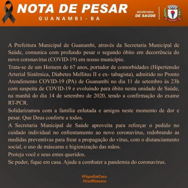 Segunda morte por Covid-19 é confirmada em Guanambi.