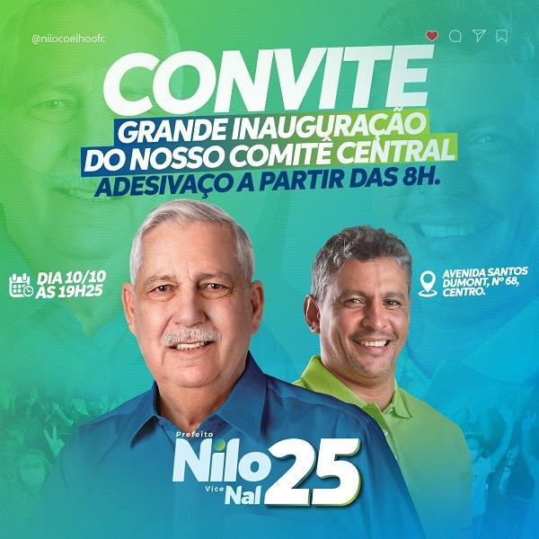 Com 'adesivaço' durante todo dia, Nilo e Nal inauguram comitê central neste sábado às 19h25min, na Avenida Santos Dumont.