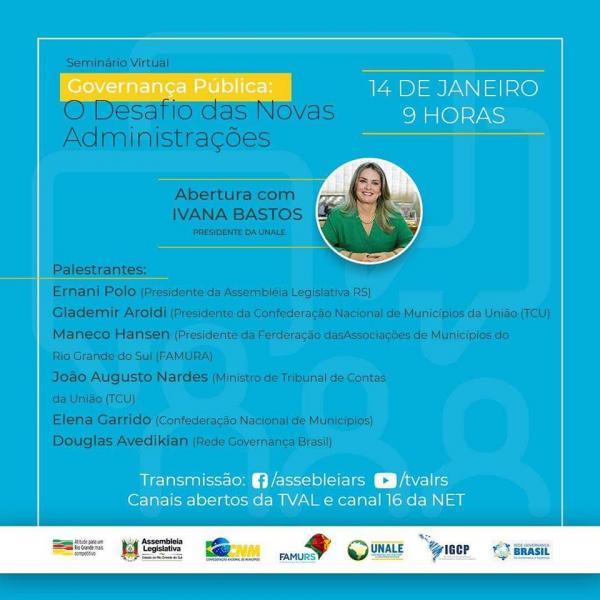 Ivana Bastos será palestrante em seminário que trata da governança na gestão pública.