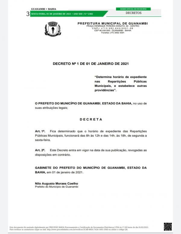 Nilo Coelho toma posse e já publica seu primeiro decreto; site oficial ganha um novo visual.