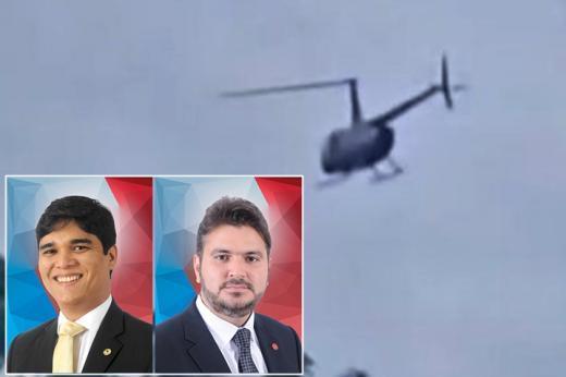 Helicóptero que transportava deputados estaduais Vitor Bonfim e Diego Coronel faz pouso de emergência em Itacaré.