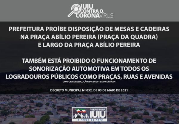 Novo decreto proíbe uso de mesas, cadeiras e funcionamento de som automotivo nas ruas de Iuiú