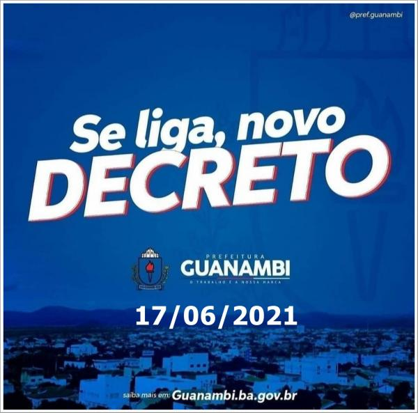 Em novo decreto, Prefeitura de Guanambi mantém toque de recolher às 20h, restringe bebidas alcoólicas, impõe multa para aglomerações, etc; veja decreto completo.