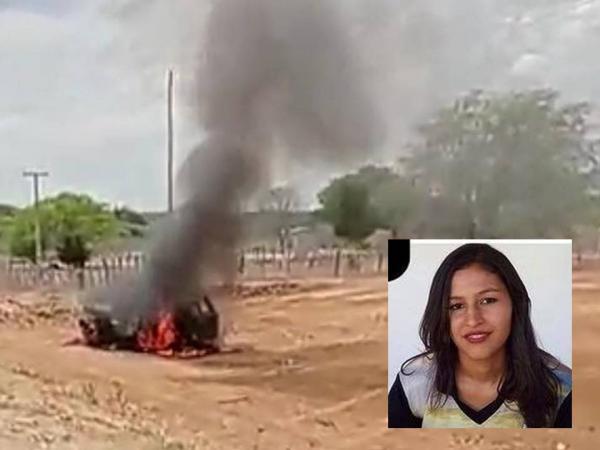 Populares ateiam fogo no carro do condutor envolvido no acidente que matou mãe e filha em Serra do Ramalho.