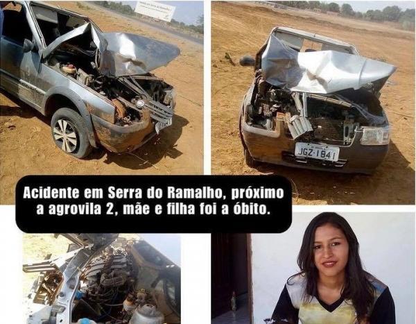 Mãe e filha de quatro anos morrem em acidente na BA-161 em Serra do Ramalho.